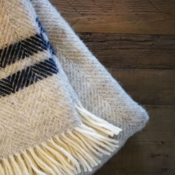 Fishbone Grey and Navy Wool Blanket / Throw